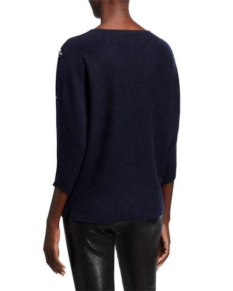 Image 3 of 3: Neiman Marcus Cashmere Collection Crewneck 3/4-Sleeve Cashmere Sweater w/ Embellished Front