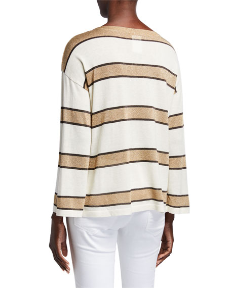 Image 3 of 3: Superfine Cashmere Metallic Striped Boat-Neck Pullover Sweater