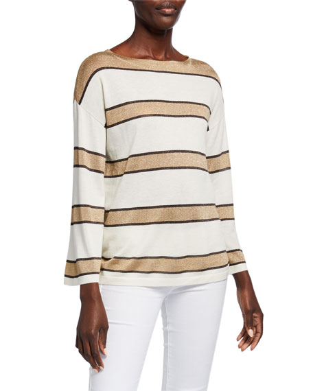 Image 1 of 3: Superfine Cashmere Metallic Striped Boat-Neck Pullover Sweater