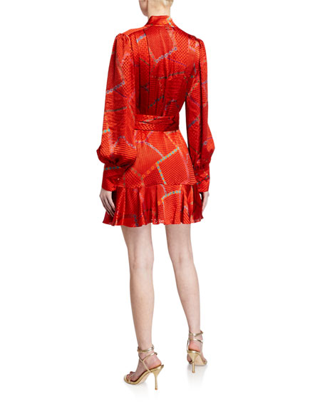 Alexis Lishan Fire-Print Tie-Neck Belted Mini Dress