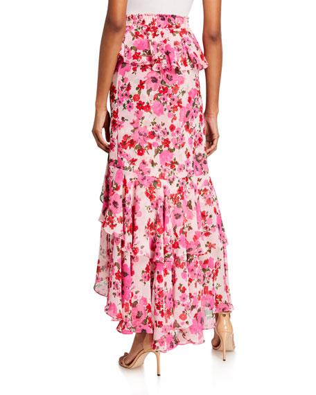 MISA Los Angeles Lucia Floral Tiered Split Long Skirt