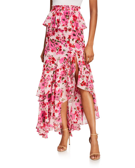 Misa LUCIA FLORAL TIERED SPLIT LONG SKIRT