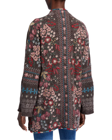 Image 2 of 2: Plus Size Aya Embroidered Knit Kimono