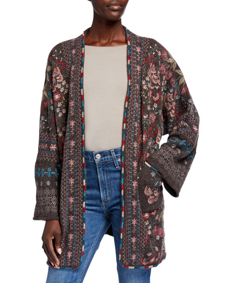 Image 1 of 2: Plus Size Aya Embroidered Knit Kimono
