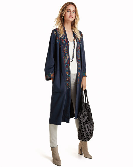 Johnny Was Petite Cleo Embroidered Long Coat