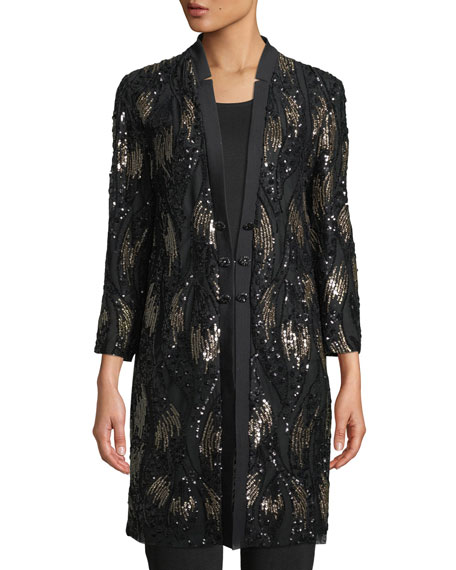 Image 3 of 4: Misook Plus Size Long Sequin Mesh Duster Jacket