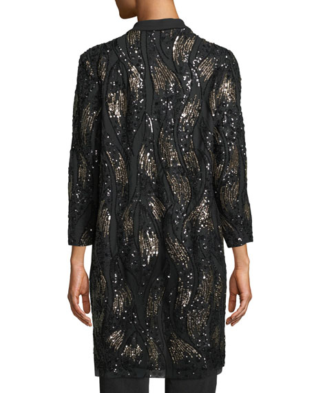 Image 4 of 4: Misook Plus Size Long Sequin Mesh Duster Jacket