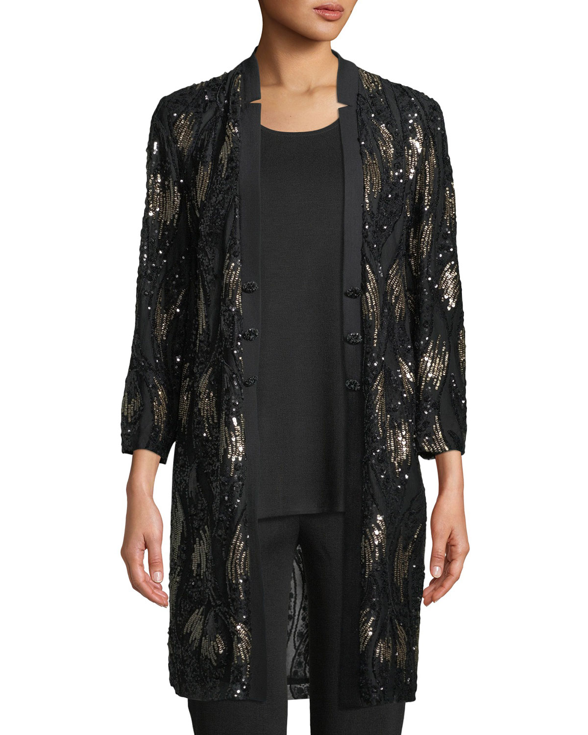 Misook Plus Size Long Sequin Mesh Duster Jacket