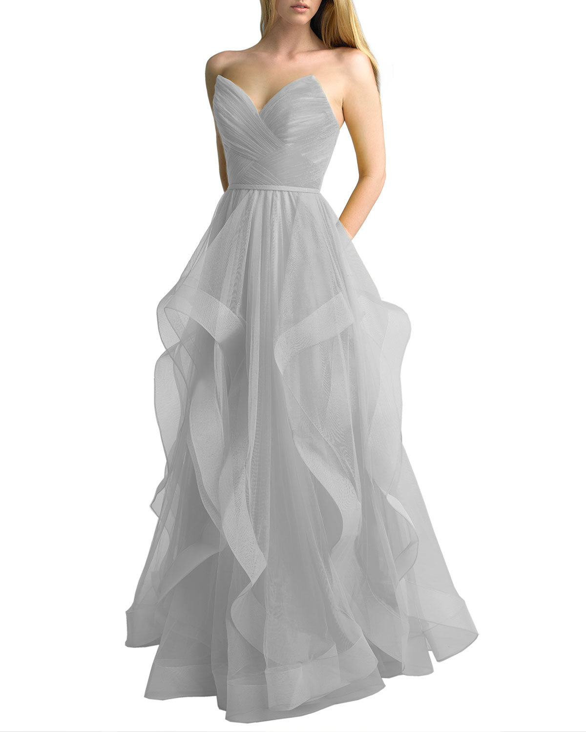 Basix Corseted Tulle A-Line Gown with Cascading Skirt
