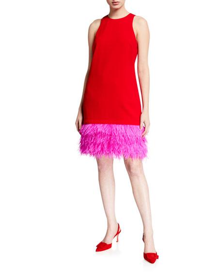Trina Turk Berry Colorblock Feather-Hem Shift Dress