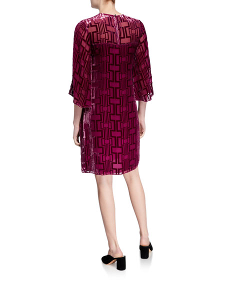 Trina Turk Burnout Velvet Shift Dress with Illusion Neckline