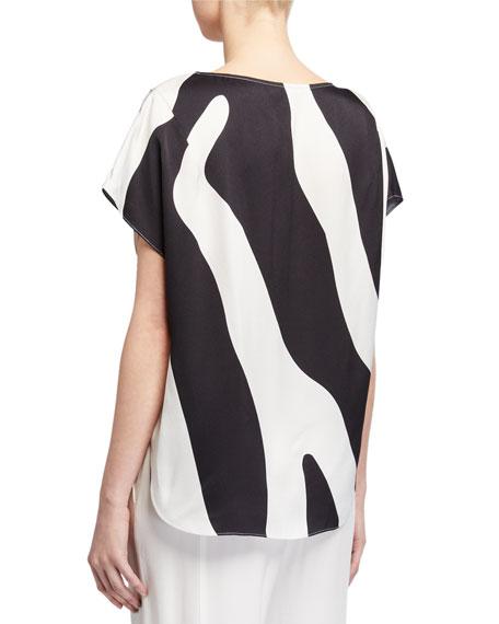 Milly Zebra Print High-Low Dolman Top