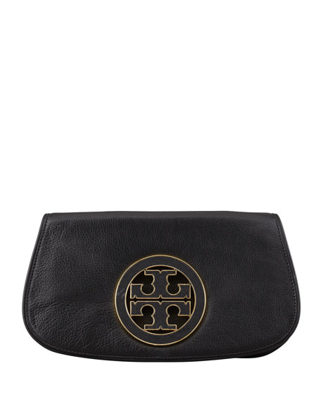 Amanda Pebbled Logo Clutch, Black