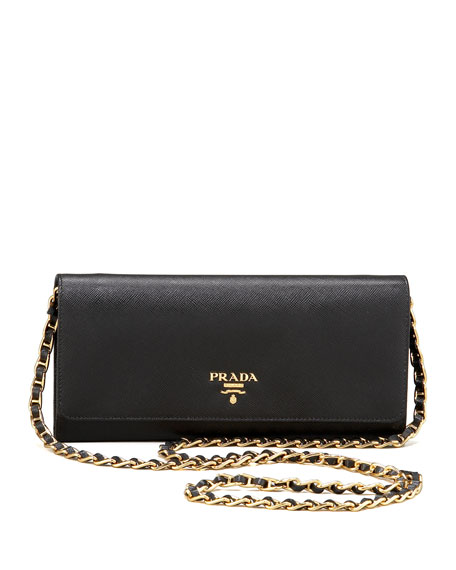 Saffiano Chain Crossbody Wallet