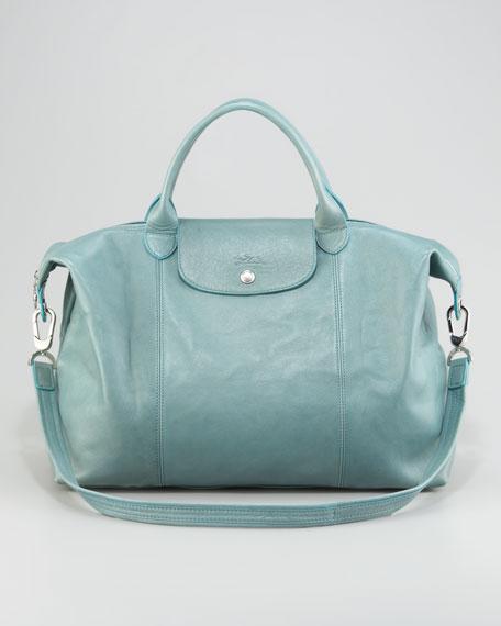 Le Pliage Cuir Large Tote Bag w/ Shoulder Strap