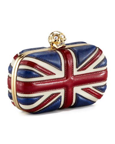 Britannia Skull-Clasp Clutch Bag