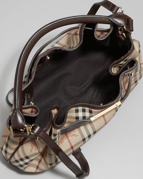 Belted Check Hobo Bag, Medium