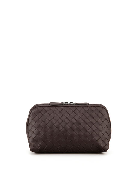 Woven Leather Cosmetic Case, Medium