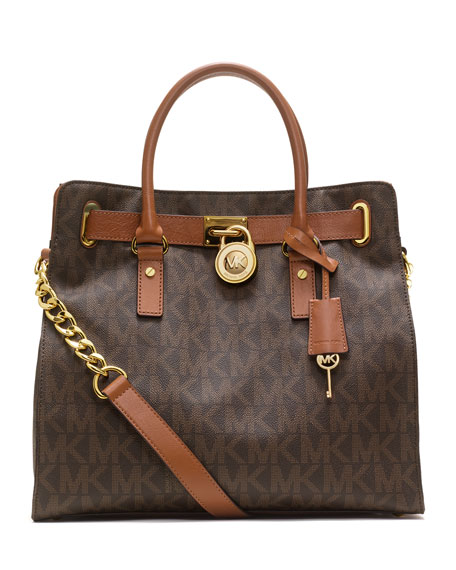 Hamilton Large MK Logo Tote Bag, Brown