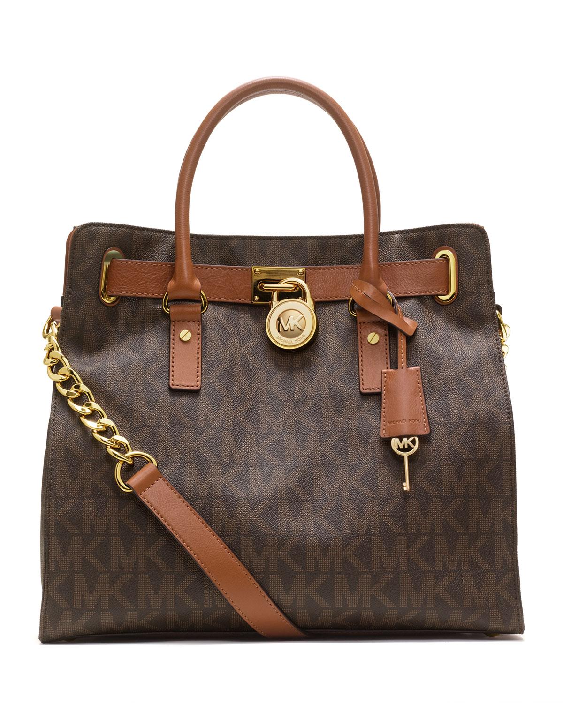 41915d6a07a3 MICHAEL Michael Kors Hamilton Large MK Logo Tote Bag, Brown | Neiman ...