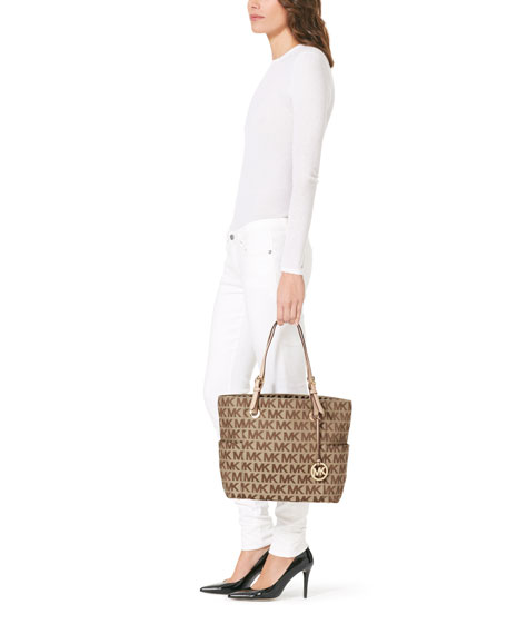 Jet Set Signature Tote Bag, Beige/Ebony/Gold