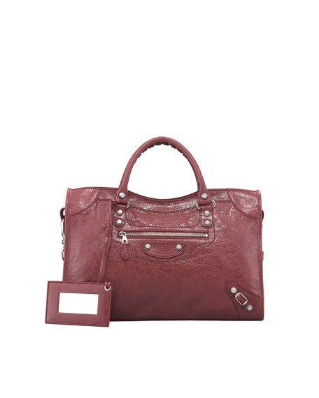 Balenciaga Giant 12 Silver City Bag, Cassis/Bordeaux