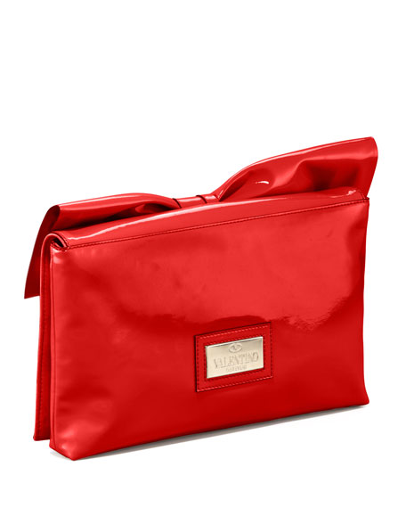 Lacca Bow Clutch Bag, Red