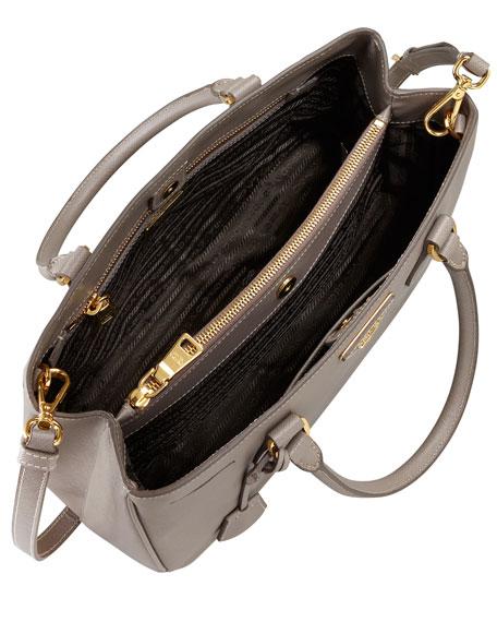 Saffiano Lux Tote Bag, Small, Grey (Argilla)