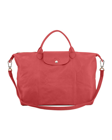 Le Pliage Large Cuir Handbag with Strap