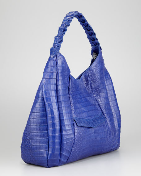 Braided-Strap Crocodile Hobo Bag