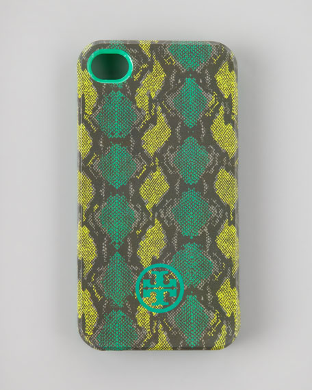 Pop Snake-Print Soft iPhone 4 Case, Island Turquoise