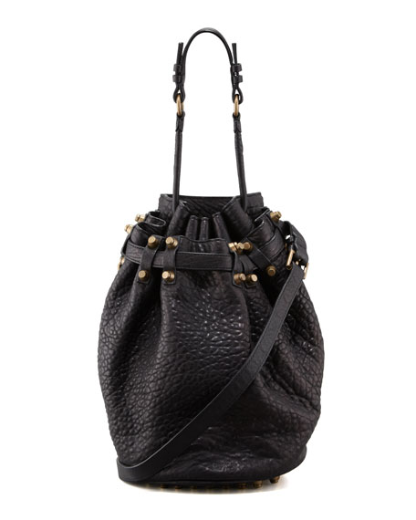 Diego Bucket Bag, Black/Rose Gold