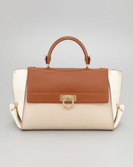 Sofia Colorblock Flap Satchel Bag, Almond