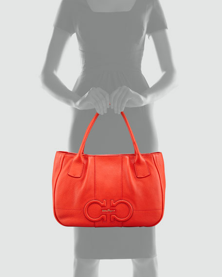 Izzie Gancini-Embossed Tote Bag, Red