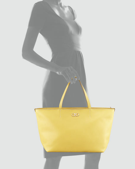 Bice Pebbled Leather Tote Bag, Yellow