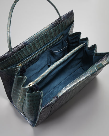 A-Frame Large Crocodile Satchel Bag
