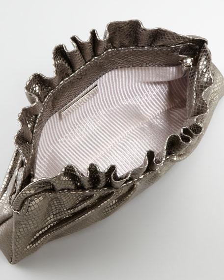 Georgie Python-Embossed Ruffle-Top Clutch Bag, Gunmetal