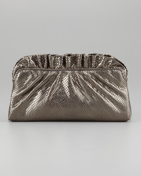 Georgie Python-Embossed Ruffle-Top Clutch Bag, Gunmetal