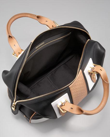 Ashley Tread Colorblock Satchel Bag, Black/Tan/White