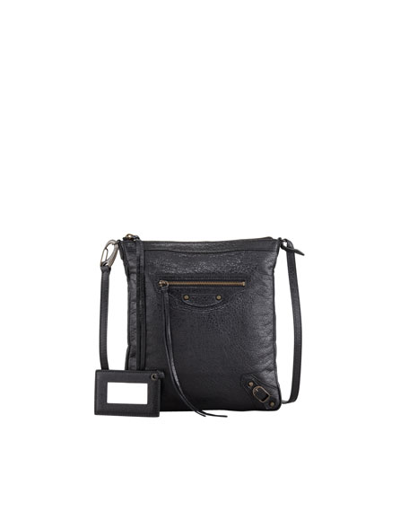 Classic Flat Crossbody Bag, Black