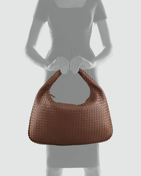 Veneta Woven Hobo Bag, Brown