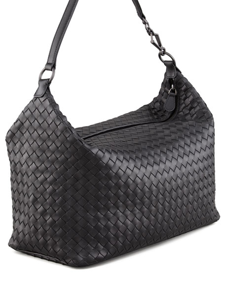 Woven Leather Shoulder Bag, Black