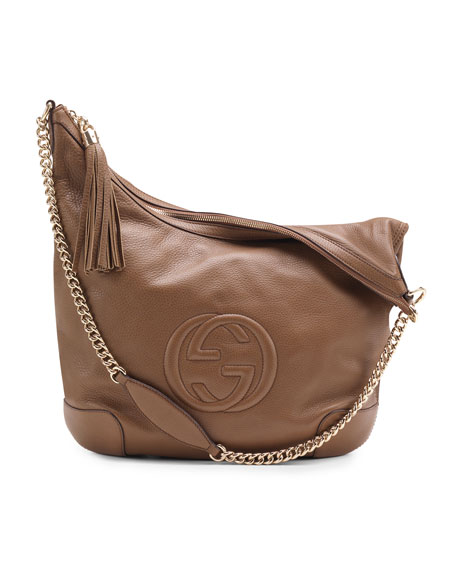 Soho Leather Chain-Strap Shoulder Bag, Brown