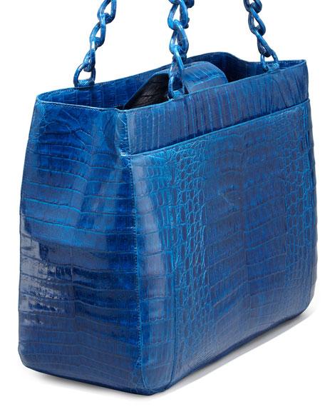 Crocodile Chain-Strap Tote Bag, Electric Blue