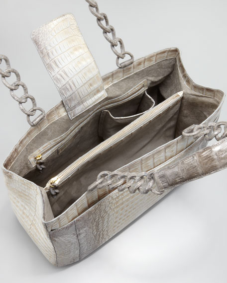 Crocodile Chain-Strap Tote, Gray