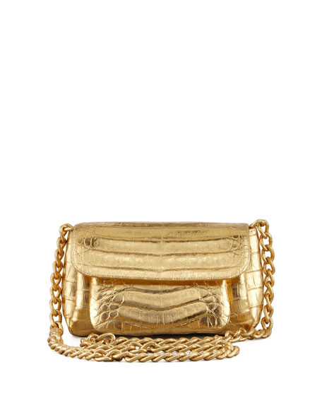 Crocodile Compartmentalized  Crossbody Bag, Gold