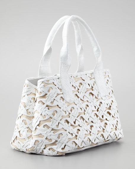 Cutout Crocodile Tote Bag, White