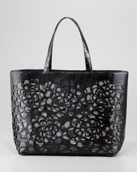 Crocodile Cutout Tote Bag, Black