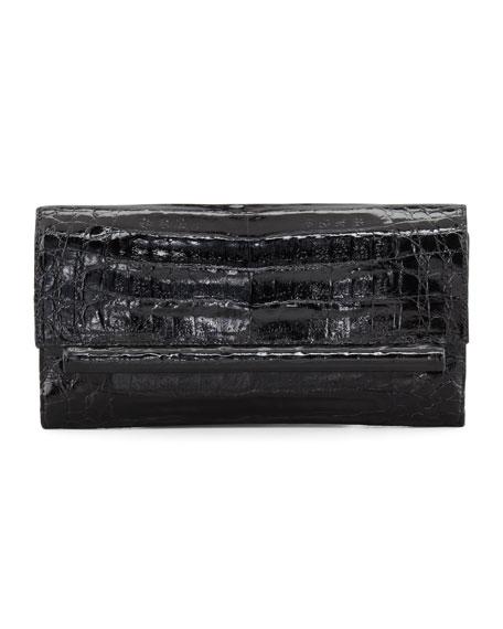 Front-Flap Crocodile Bar Clutch Bag, Black