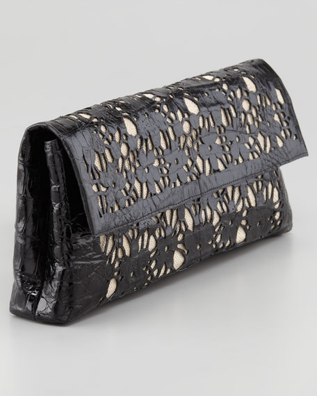 Crocodile Fold-Over Flower Clutch Bag, Black